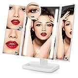 Aufladbarer LED Kosmetikspiegel Faltbarer Schminkspiegel von ACOCO, STUFENLOS DIMMBAR Toch Control Make-up Mirror/Spiegel, Klappbarer Tischspiegel, Beleuchteter Standspiegel,24 Natürliche LEDs, 3 Seiten, 180°Einstellbar, 4 Vergrößung Modi 1X / 2X / 3X /10X, AAA Batteriebetrieb oder mit USB-Kabel wiederaufladbar