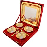 Gold Plated Bowl With Gold Plated Spoon And Gold Plated Tray (Set Of 9 Pics, Gold) With Velvet Box Packing Exclusive Gift Items For Diwali Gift, Wedding Gift And Corporate Gift