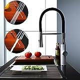 Homelody 360° Drebar hoher Auslauf Küchenarmatur Schwarz Armatur Küche Wasserhahn Mischbatterie Spültischarmatur und Einhebelmischer Küche
