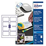 Avery España C32015-10E - Pack de 10 folios de tarjetas de visita, 85 x 54 mm, color blanco