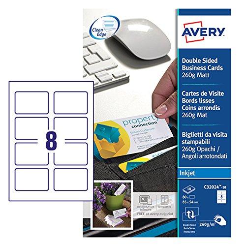 AVERY Zweckform C32024-10 Premium Visitenkarten mit abgerundeten Kanten (80 Stück, 85 x 54 mm, beidseitig bedruckbar, matt, 10 Blatt)