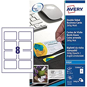 Avery c32011 25 printable single sided business cards 10 cards per avery c32024 10 printable double sided business cards 8 cards per a4 sheet reheart Choice Image