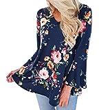 HUIHUI Damen Mode Baumwolle Blusen Lose Elegant T Shirt V-Ausschnitt Slim Fit Blusenshirt Plus Size Blumenmuster Baumwolle Bluse Festliche blusen Casual Unregelmäßige Tops S-XXXXXL (Blau, L)