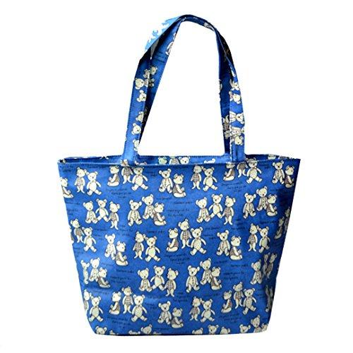 LAHAUTE Damen Schultertasche Canvas Mädchen Handtasche Niedliche Bären Tasche groß dunkelblau