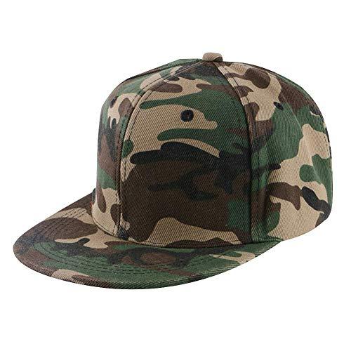 Llgbqm Baseballmütze Männer Frauen Hip Hop Cap Sport Hut Einfarbig Acryl Outdoor Weiblich Männlich Casual Snap Zurück Persönlichkeitshut (Color : Camouflage) Camouflage Snap