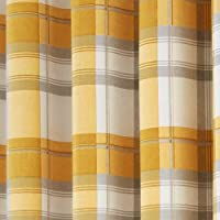 "Fusion - Balmoral Check - Ready Made Lined Eyelet Curtains - 90"" Width x 72"" Drop (229 x 183cm), Ochre from J Rosenthal"
