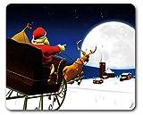 1art1 89220 Weihnachten - der Weihnachtsmann Kommt mit Seinem Rentier-Schlitten Mauspad 23 x 19 cm