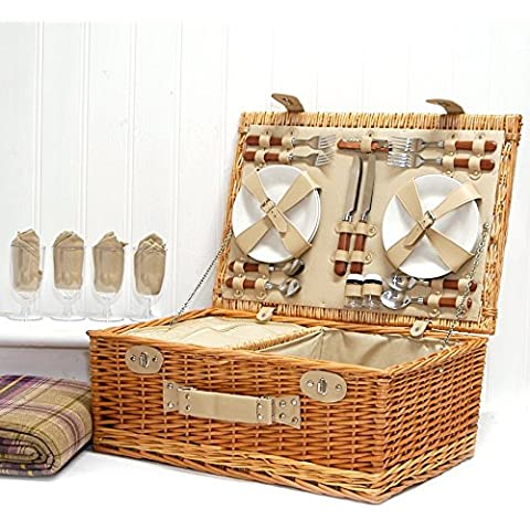 Sutton Cesta de picnic para 4personas, incluye manta morada con diseño de tartán
