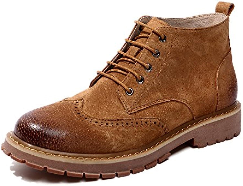 HL-PYL Nueva zapata alta botas botas Jobon masculinos, moler arena antiguas Martin botas,42,amarillo