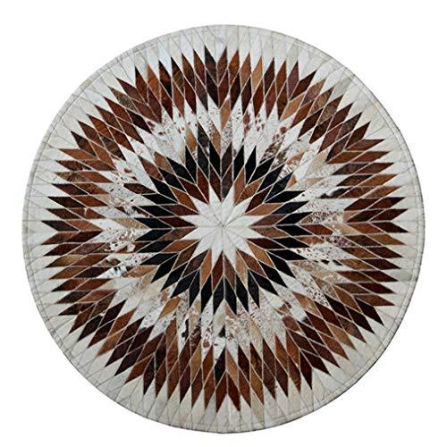 Brown Ivory-teppich (LMXJB ZeitgenöSsisch Western Brown Und Ivory Area Cowfide Rug Geometrische Streifen Collection Patchwork-Bereich-Teppich Tierhaut Kunsthandwerker 100% Kuhfell Handgefertigt Ledermatte,Round1m/3'3)