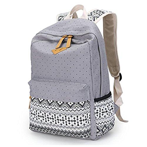 HITOP Mode Geometrie Tupfen Canvas Schultertasche Freizeitrucksack Rucksäcke Backpack Grau