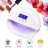 Lampada Unghie UV LED da 50W Manicure/Pedicure per Gel Unghie Automatico Sensore con 3 Timer Preimpostati (30s,60s,90s)