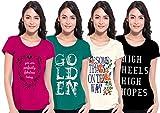 Ladies Half Sleeve Pack of 4 T Shirt ( S...