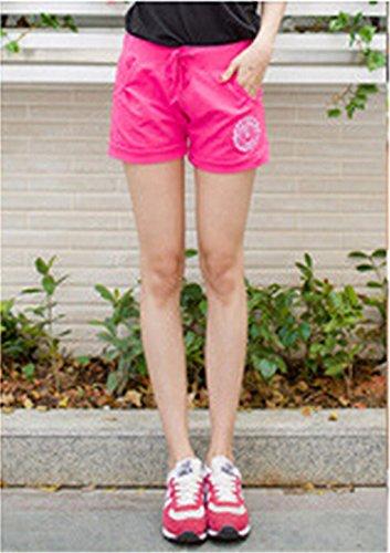 QIYUN.Z Femmes Occasionnels Pantalons Courts Bonbons Taille Des Sports De Glisse De Cordon Plage De Surf Short Rose Rouge