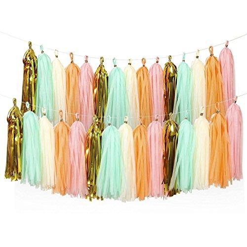 Garland Banner, Tissue Paper Tassels DIY Kits, Pink+Metallic Gold+Ivory+Peach+Mint, 15pcs, Pack of 2 ()