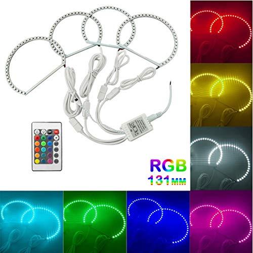 VIGORFLYRUN PARTS LTD 4pcs/Satz Auto LED COB Angel Eye Halo Ring Kit Lichter Lampe mit Fernbedienung Für E46, Super Bright RGB Color 131mm x4 - Für Halo-licht Autos