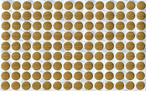 KwikCaps® PVC Eiche Calais Hell Selbstklebende 3M Schrauben-Abdeckungen Abdeckkappen Nägel Cam flach [126 Stk. x 13 mm Durchmesser] (Abdeckung Kleid)