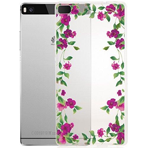 "Saxonia Schutzhülle + Panzerglas Apple iPhone 8 / iPhone 7 (4,7"") Hülle Ultra Slim Silikon Case Cover mit Design / Motiv Dont Touch My Phone Transparent (klar) Lila Blumen"