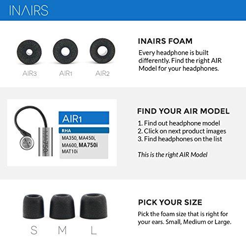 INΛIRS AIR1 (L) - 5 Paar effektive Noise Cancelling In Ear Schaum Aufsätze - Klare Höhen und natürlicher Klang - Satter Bass - Silikon Ersatz Ohrpolster für Ohrstöpsel, Ohrhörer Aufsatz & Kopfhörer Memory Foam Tips - 3