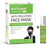 Bodyguard Anti Pollution Mask For Men and Women with Mosquito Repellent Fabric Roll On - 8 ml (Extra 2 ml)
