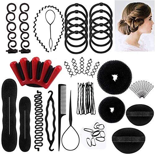 Halicer 25pcs Haare Frisuren Set,Haar Zubehör styling set,Hair Styling Accessories Kit Set Haar Styling Werkzeug, Mädchen Magic Haar Clip Styling Pads Schaum Hair Styling tools für DIY