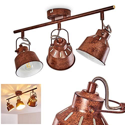 Deckenleuchte Safari, Deckenlampe aus Metall in Rostbraun/Weiß, 3-flammig, mit verstellbaren Strahlern, 3 x E14-Fassung, max. 40 Watt, Spot im Retro/Vintage Design, für LED Leuchtmittel geeignet