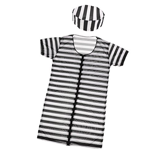 Sharplace Gefangener Herren Damen Kinder Kostüm Halloween Sträfling Gefängnis Gestreiften Anzug Abendkleid - Dame (Halloween-kostüm Jailbird)