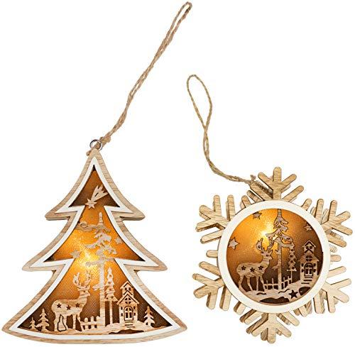 com-four® 2X Colgante de Madera con lámpara LED para el árbol de...