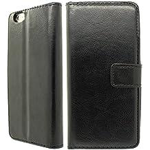Nwnk13 Estuche ultrafino con tapa para iPhone 5/5 G/5S, incluye protector de pantalla y gamuza, piel sintética, negro