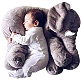 Misandrie Oreiller éléphant Doux Peluche Doux éléphant Oreiller Peluche bébé / Enfants en Peluche Peluche Animal 23.6 (Gris 60cm)