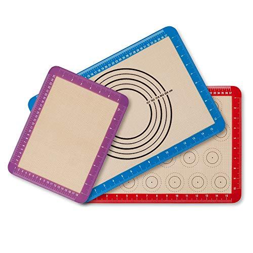 Newdora Backmatte Set aus Silikon Rutschfester waschbarer wiederverwendbarer Hitzebeständig Antihaftbeschichtet, BPA frei, antihaftbeschichtet (Rot, Blau, Lila), 3 Stück