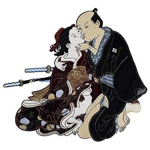 EMDOMO Parches de Tela para Bordado diseño de Guerrero japonés Samurai Sir Kimono con Insignia de la señora Scrapbooking Costura 1 Pieza