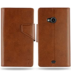 Cool Mango Business Flip Cover for Lumia 535 - 100% Premium Faux Leather Flip Case for Microsoft / Nokia Lumia 535 with 360 Degree Stitching, Magnetic Lock, Card & Currency Wallet – Limited Time Offer Pricing (Cocoa Brown)