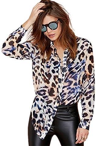 Sexy Manches Longues Léopard Imprimé Avec boutons sur le devant Ourlet Incurvé Mousseline Blouse Chemisier Shirt Chemise Haut Top S