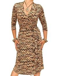 Blue Banana - Robe style portefeuille en imprimé zigzags marron et beige