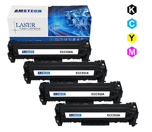 4 Pack Amstech compatible toner CC530A CC531A CC532A CC533A Cartridge toner replacement per HP Color LaserJet CP2025 CP2025N CP2025DN, CM2320 CM2320N MFP CM2320NF MFP CM2320FXI MFP Standard Yield (1 CC530A Nero, 1 CC531A Blu, 1 CC532A Giallow, 1 CC533A Magenta, K-3500 C/M/Y-2800 Pagine)