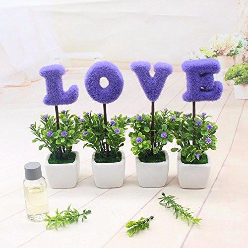 GBHNJ Künstliche Blumen Topfpflanzen Simulation Dekoration Lila Weiß Square Vase (Square-geschenk-korb)