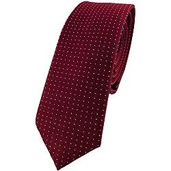 corbata de seda estrecha - burdeos borgoña plata lunares