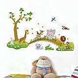 Pingxia Dschungel Wandtattoo Niedlich Tier Wandaufkleber Abnehmbare Wandsticker für Kinderzimmer Schlafzimmer Wohnzimmer Vergleich