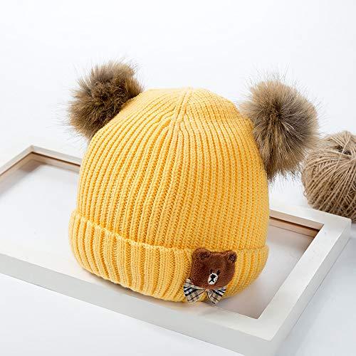 mlpnko Kinder Hut Wolle Hut Doppelkugel kleine Bommel Cartoon Bär Baby Strickmütze gelb 5 Monate -3 Jahre alt