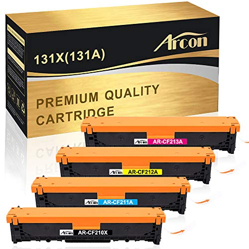 4 Arcon Kompatibel für HP 131A CF210X CF210A CF211A CF212A CF213A HP 131X Toner für HP Laserjet Pro 200 Color MFP M276NW M276N M251N M251NW Toner - Schwarz Gelb Yellow Magenta -