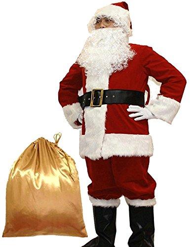 Potalay Unisex - Erwachsene Deluxe Sankt-Klage 10st. Weihnachten Erwachsener Weihnachtsmann-Kostüm groß rot -