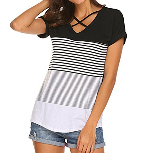 TWIFER Women Ladies Cotton Summer Spring Autumn Short Sleeve Triple Color Block Stripe T-Shirt Casual Blouse