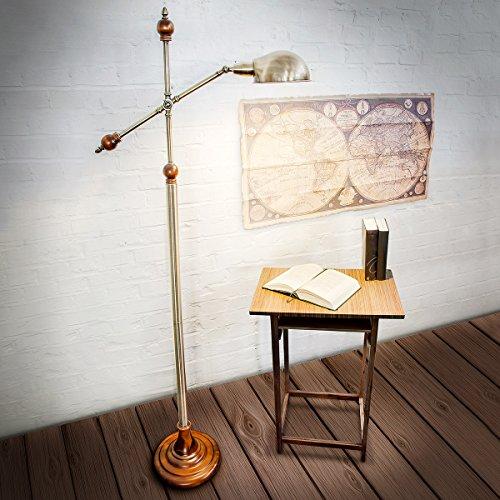 Relaxdays Elegante Lampada da Lettura in Stile Retró di Ottone con Base Vero Legno, 30 X 72 X 174 cm