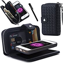 Urvoix funda iPhone se, tejido cremallera de piel tipo cartera desmontable/separable parte posterior magnética para Carcasa Funda w/correa de mano, ranuras para tarjetas para iPhone se 5S