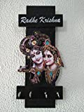 #5: PRAMUKH STORE Wooden Handicraft Hanging Frame, Key Hold - Wall Mounted Key Chain Hanging Board/Box, Key Hanger, Key Holder, Key Wall Hooks, Wooden Key Holder, Key Holder Painting, Painted, Ideal Gift, Photo frames, Gift Item, Washable Wooden Key Stand With 4 Hooks Home Décor, Hanger Decorative Decoration Show Piece Gift, Key Holder - Rack - Cabinet Box-Key Hanger (Black RK)