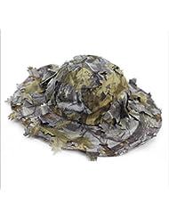 3d hojas camuflaje Ghillie sombreros al aire libre protección solar pesca caza cap sombrero de ala ancha tapa, Gris