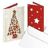 10 Stück Weihnachtskarte rot weiß gold beige WEIHNACHTSBAUM Weihnachten Karte - ohne Text - Klappkarte MIT KUVERT Geschäftskunden Geschäftspartner Nostalgie klassisch Foto-Motiv weihnachtlich