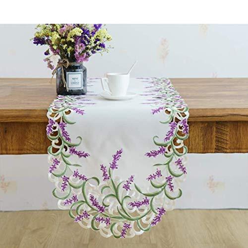 BYBAY Tischläufer Eleganter Handgemachtes Weiches Satin Cutwork Gesticktes Lavendel Ovale Tischdecke Einfach Verfeinert Waschbar, 40x130cm -