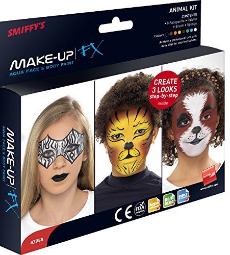 Smiffys Unisex Aqua Gesichts- und Körper Make-Up Set, 8 Farben, Pinsel, Schwamm und Anleitung,...